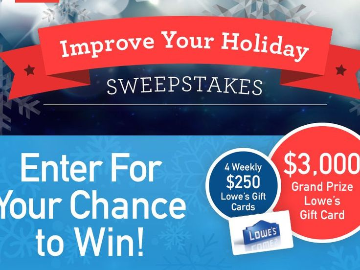 Enter the ESPN Radio & Lowes Improve Your Holiday Sweepstakes for a chance to win a $3,000 Lowe's Gift Card!