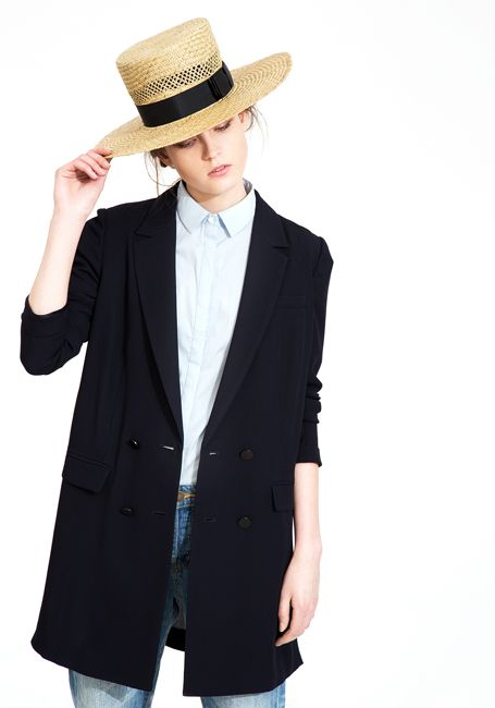 Le Ciel Bleu Tuxedo Jacket and ruffle sleeve shirt with The Tanager straw hat by Gladys Tamez Millinery