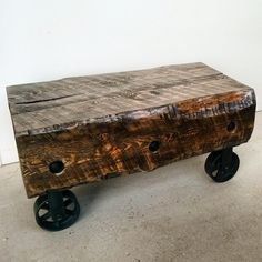 The Chunkster barn beam coffee table / bench - rustic industrial piece made using reclaimed barn beams and industrial steel wheels