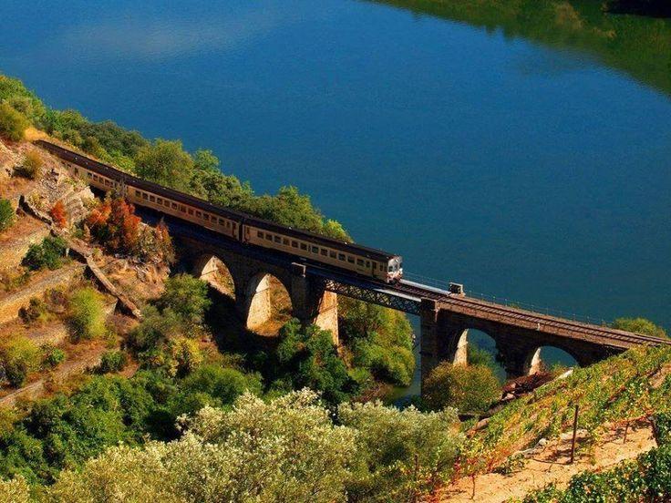 Train of Douro Valley near Pinhão, Portugal
