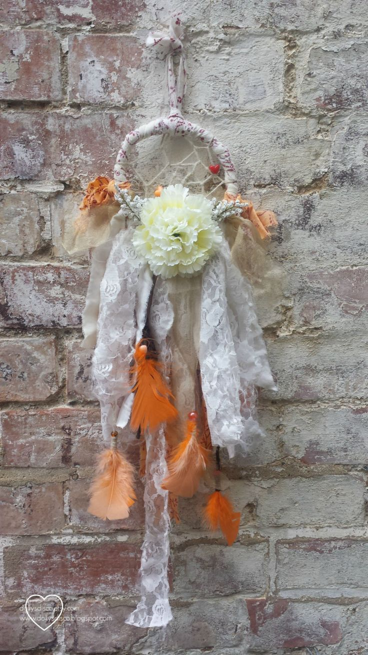 Bohemian Decor Fall Lace Dreamcatcher with Flowers & Feathers / Folk Festival Boho Gypsy Soul Wedding Ethnic Floral Upcycled Dream Catcher