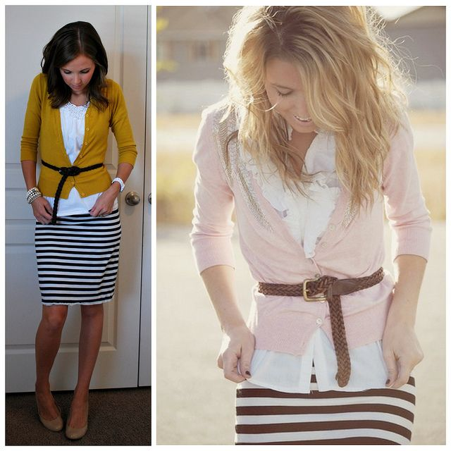 Cute for work. Striped skirt! also love the belt over cardis!