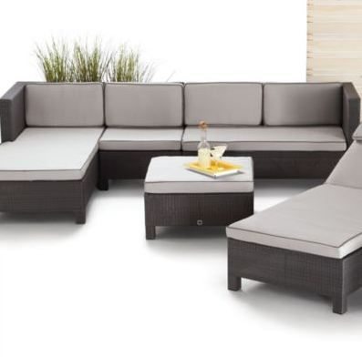 This modern modular scheme is perfect for patio entertaining. Add or subtract pieces to create a cozy sectional that's custom fit for you and your guests.
