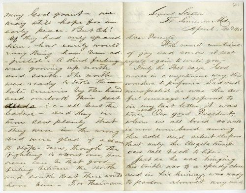 First page of the letter from Alonzo V. Richards to his parents describing President Lincoln's funeral. There are 3 pages, written front and back. (Wyoming State Archives H82-61/65-1)
