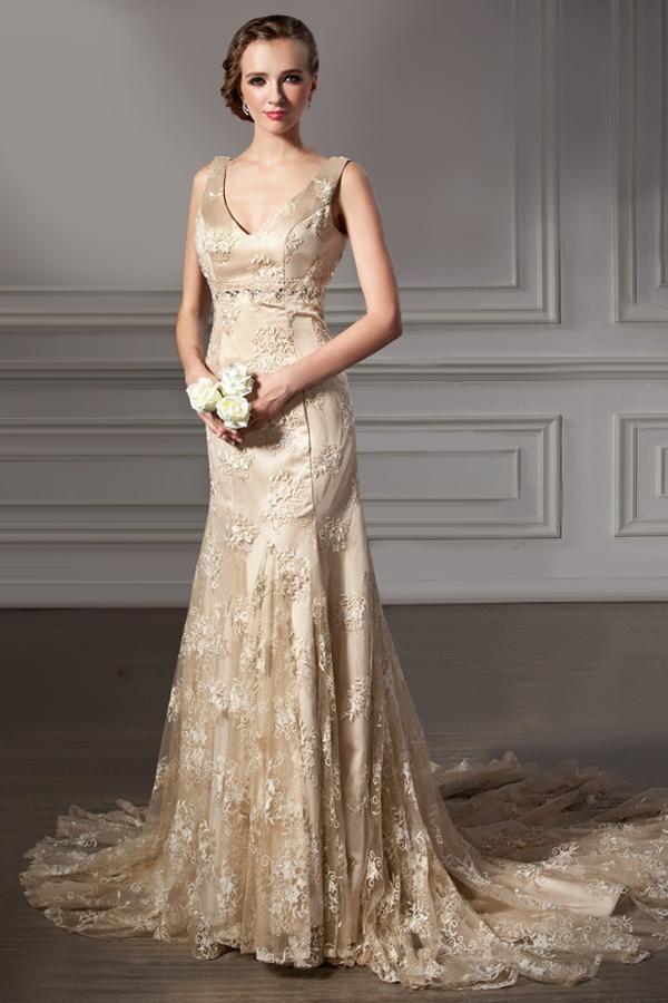 Gold lace wedding dress color wedding dresses for Wedding dresses with gold beading