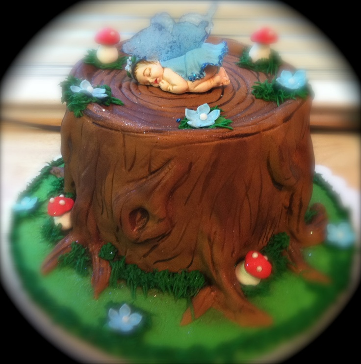 Tree stump cake let them eat cake pinterest tree for Baby footprints cake decoration