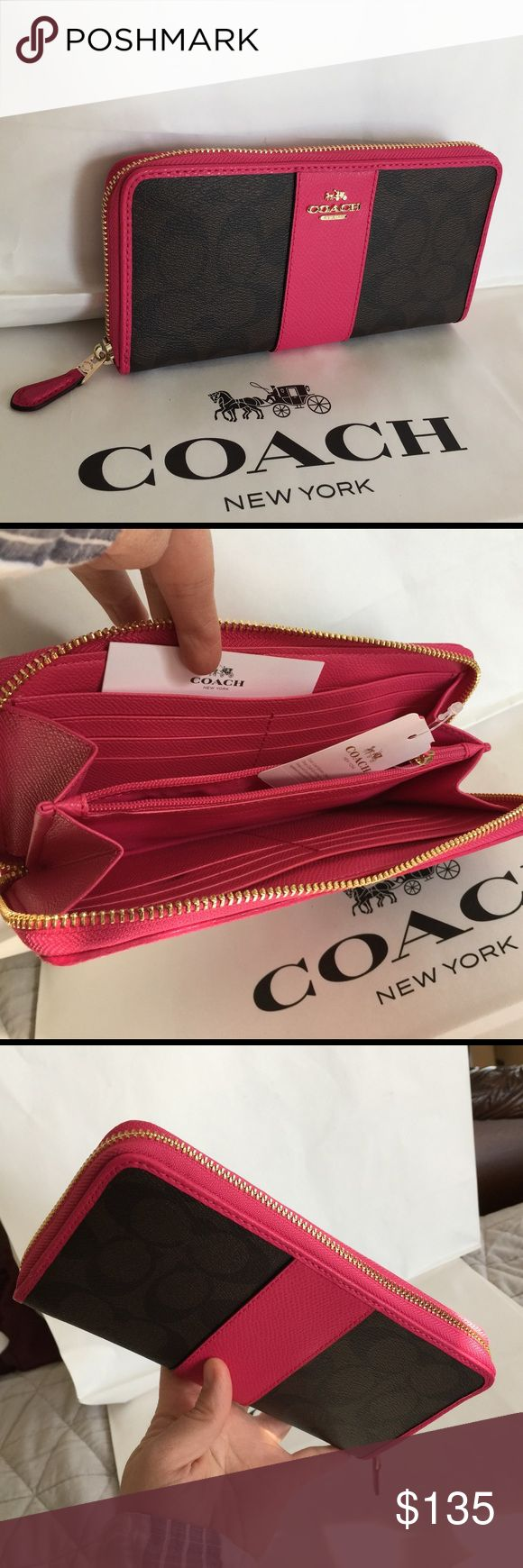 🎄Coach Wallet🎄 100% Authentic Coach Wallet, brand new with tag!😍😍😍color Brown/Pink Ruby. Coach Bags Wallets
