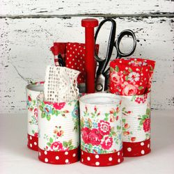 Recycled cans stand and some other DIY storage solutions in my favorite polka dots and roses.