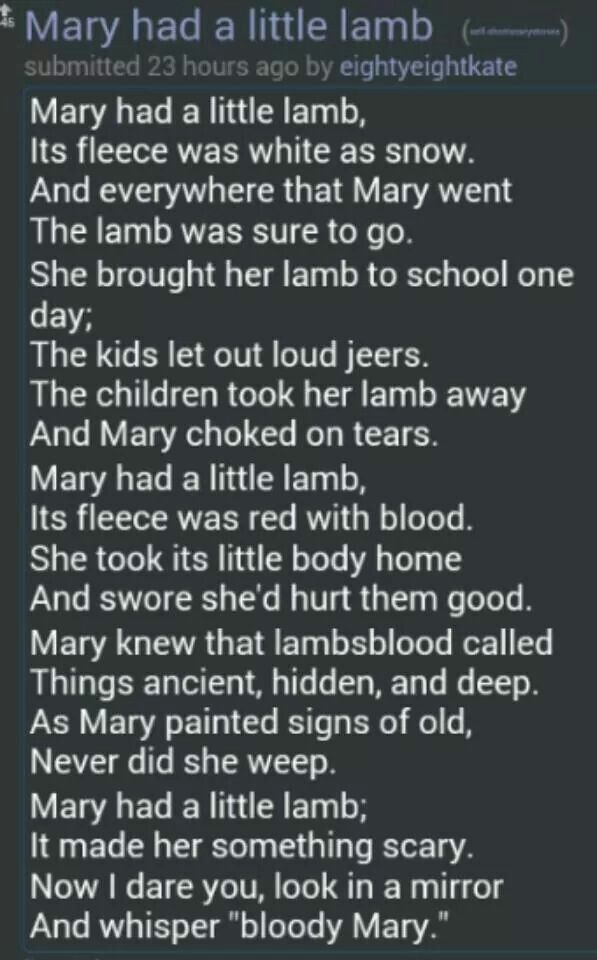 best creepypasta images creepy pasta  mary had a little lamb bloody mary mash up