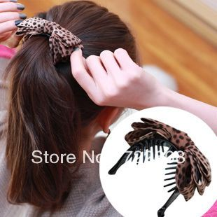 7.85 euro incl shipping [6060] wholesale leopard fabric butterfly knot grasping hair clip caught banana clips hair clips Headwear 15g-in Hair Accessories from Appar...