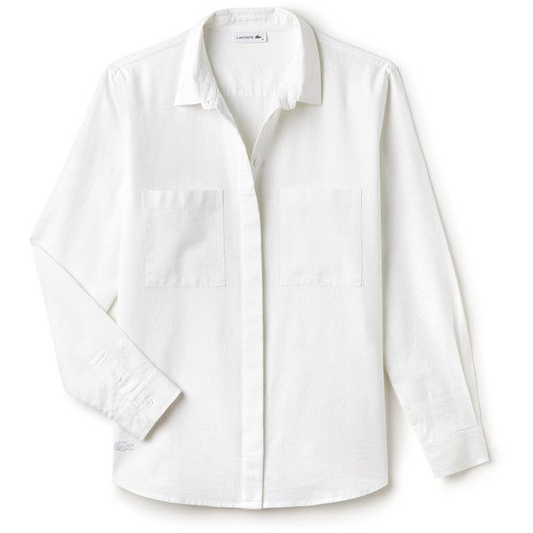 White Women's Cotton and Linen Canvas Loose Pocketed Shirt (€130) ❤ liked on Polyvore featuring tops, blouses, shirts, pocket shirts, white loose blouse, white shirt blouse, shirt blouse and lacoste shirts