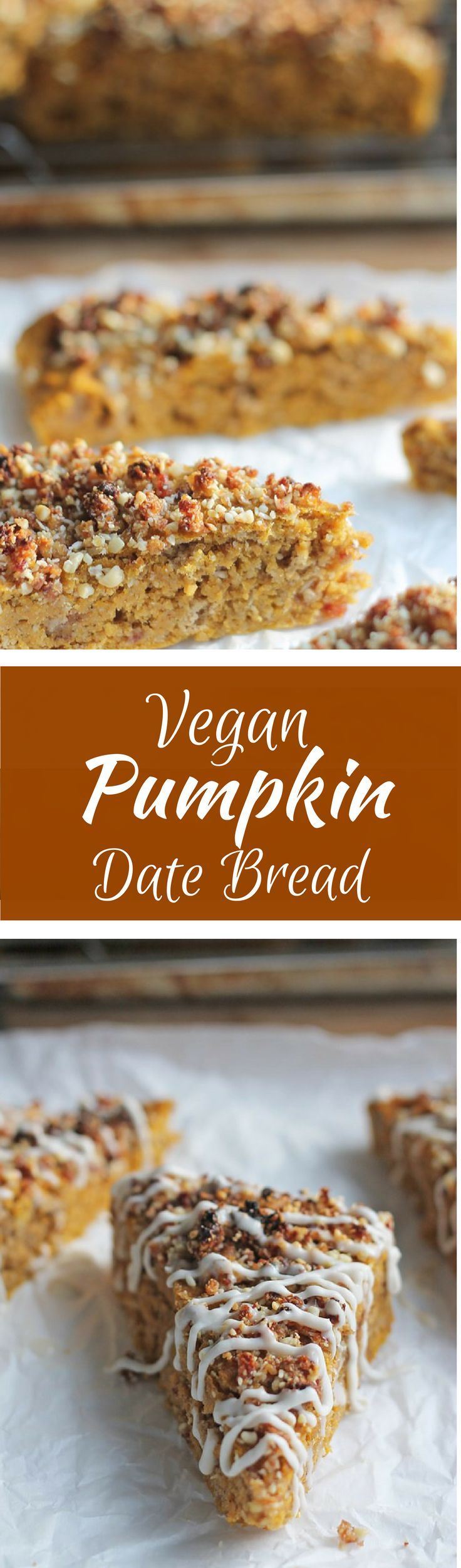 Moist batter = moist vegan pumpkin bread, topped off with almond, date and coconut crumbs.| thewholeserving.com.