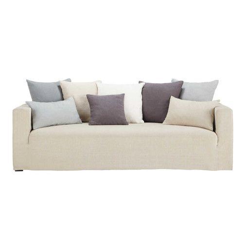 Canapé 4/5 places fixe lin coussins gris