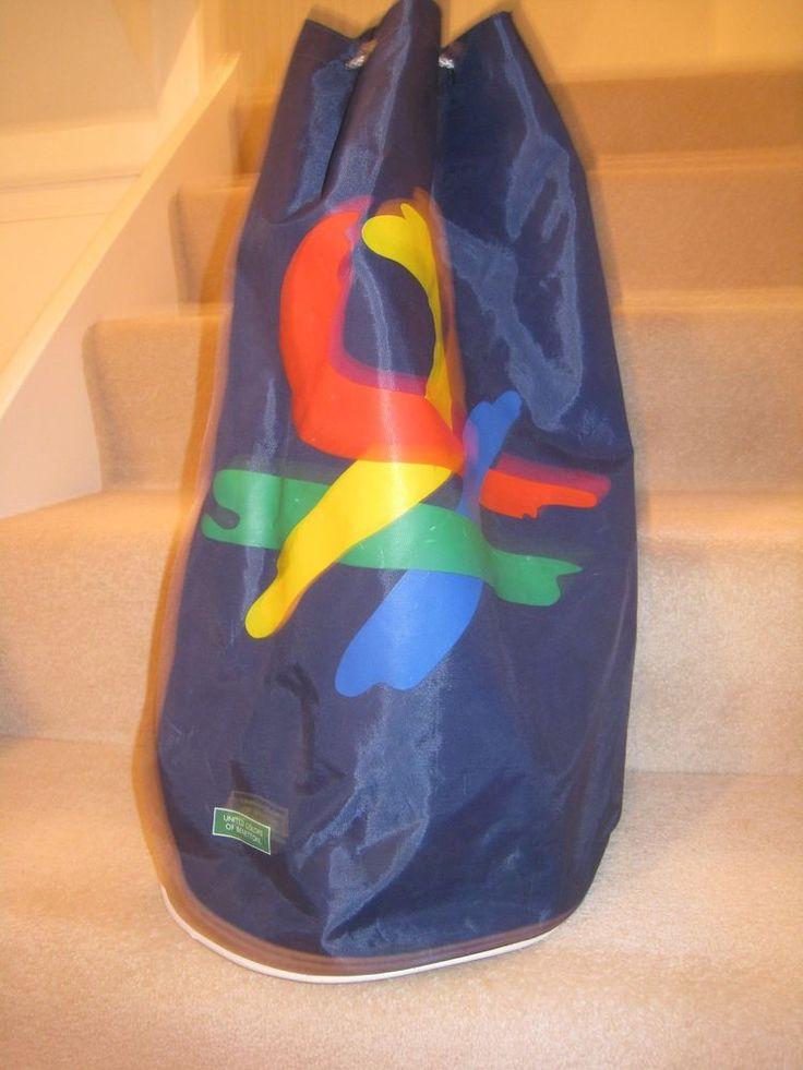 VINTAGE RETRO UNITED COLORS OF BENETTON BLUE NYLON DRAWSTRING BAG 1990 s   £41.00 (12B)