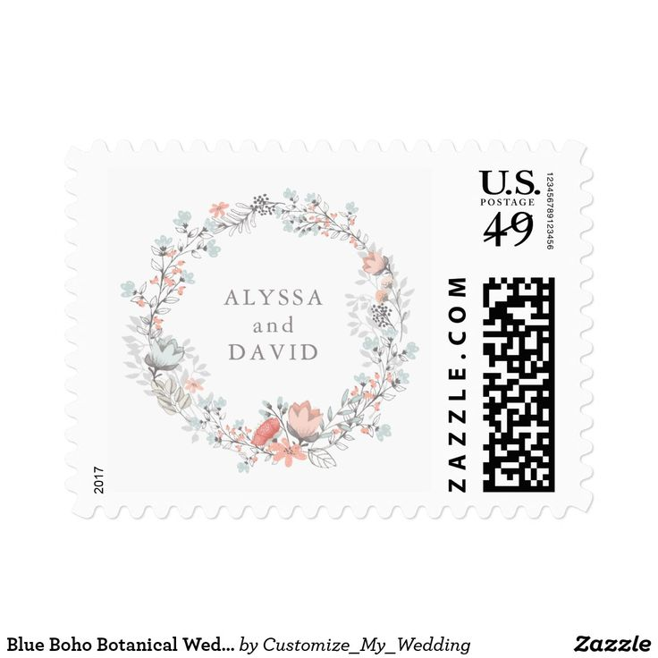 Blue Boho Botanical Wedding Postage This simple and stylish wedding postage features a sweet watercolor boho wreath, with trendy pink and blue flowers and modern typography.