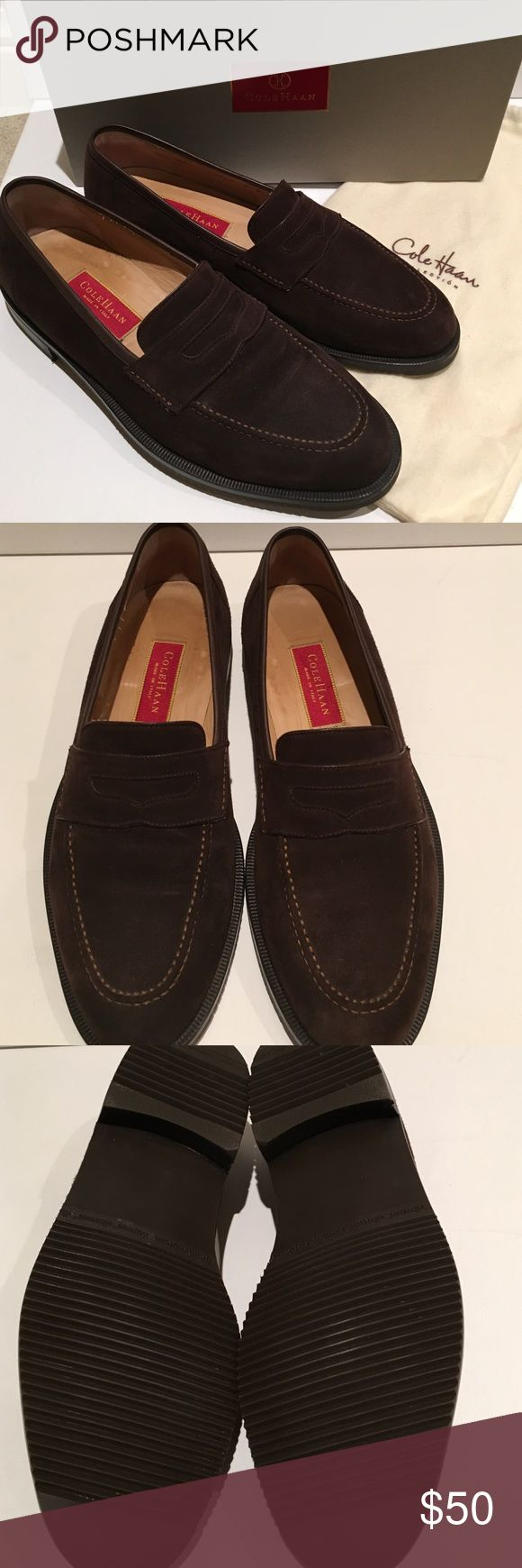 Men's Cole Haan suede footwear Rich chocolate brown suede loafer with ridged rubber sole.  Light wear--there is a spot on toe of left shoe as shown in photo 4.  Actually shows up more in photo than it really does.  Comes with box (I do not believe it is correct box) and shoe bags. Cole Haan Shoes Loafers & Slip-Ons