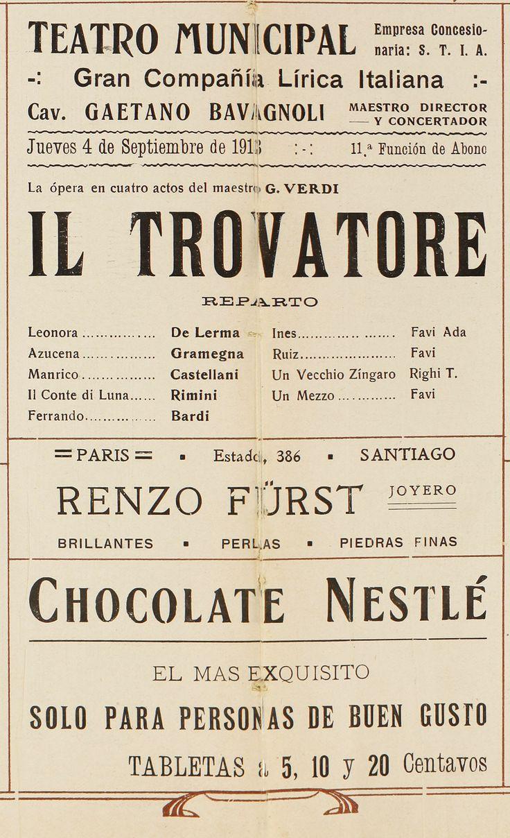 Programa de sala de la ópera  Il Trovadore, correspondiente a la temporada de 1913.
