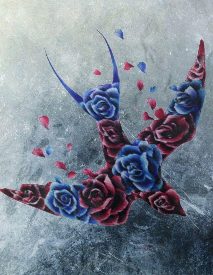 Rose swallow design  Hand made / digital  #rose #bird #colors #texture #digital #design