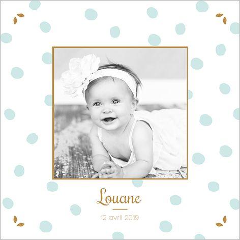 Faire-part de naissance mixte : Chic pois à personnaliser sur Popcarte.com. Avec élégance et raffinement, ce joli faire-part annonce aussi bien la naissance d'une fille que d'un garçon !