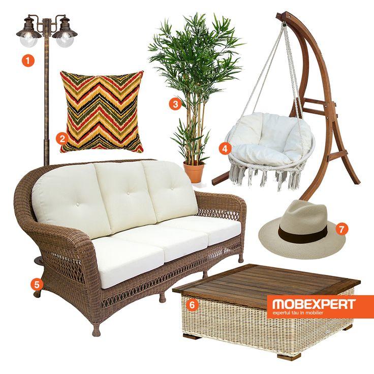 Cu un strop de imaginație și cu piesele de mobilier din noua colecție pentru Terasă și Grădină poți transforma reședința de afară într-un loc primitor, dedicat relaxării. 1. Stâlp iluminat exterior Artu 2. Pernă decor exterior Belle  3. Copac artificial Bamboo  4. Leagăn Solo  5. Canapea exterior, 3 locuri Grappa  6. Măsuță cafea Provence  7. Pălărie Panama, realizată din frunze de palmier #moodboard #mobexpert #decoideea