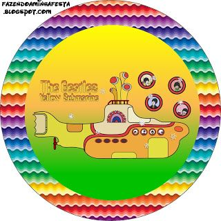 The Beatles Yellow Submarine - Kit Completo com molduras para convites, rótulos para guloseimas, lembrancinhas e imagens!