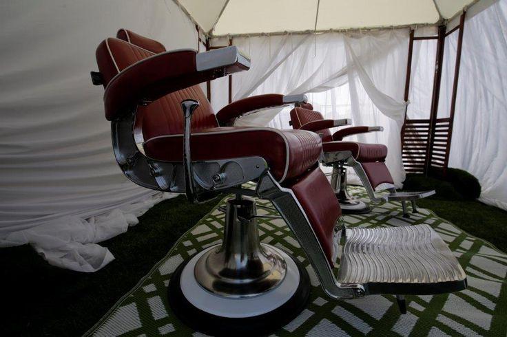 barber chair, pamper room, marquee, carpet, white chiffon drape, barbers