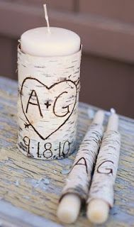 love this unity candle for a rustic or country or camo colored wedding