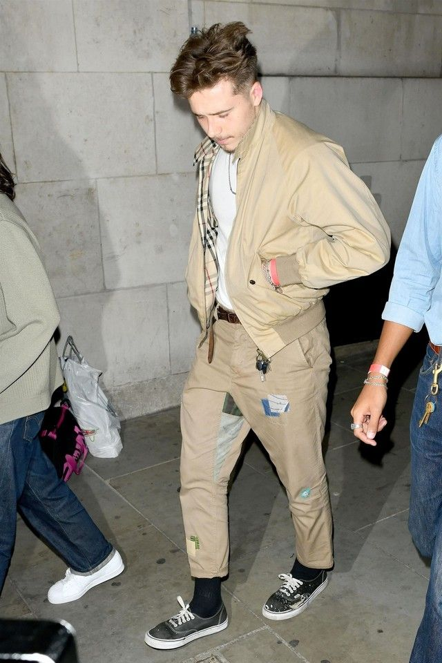 aef0573cd35 Brooklyn Beckham wearing Vans Authentic Core Classics , Burberry Rainbow  Vintage Check Harrington Jacket