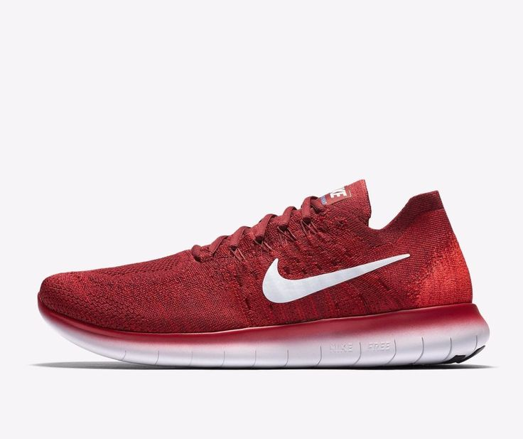 Nike Free RN Flyknit 2017 Mens Running Shoes 9.5 Team Red Platinum 880843  600