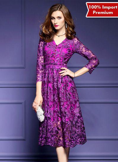 Dress Brukat Import Premium Elegant Style 613PR  | shopasista.com | Distributor baju import | distributor baju korea | grosir baju korea | grosir baju import | supplier baju korea tangan pertama | importir baju korea