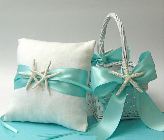 Beach Wedding White Linen Ring Bearer Pillow and Flower Girl Basket with Sand Dollars or Starfish and Aqua, Ivory or White Ribbon