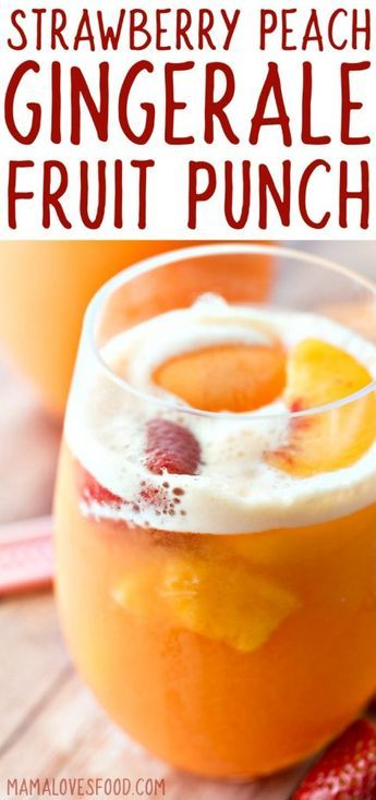 Strawberry Peach Ginger Ale Party Punch by Mama Loves Food
