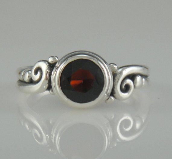 Sterling Silver 8 mm Garnet Ring- One of a Kind