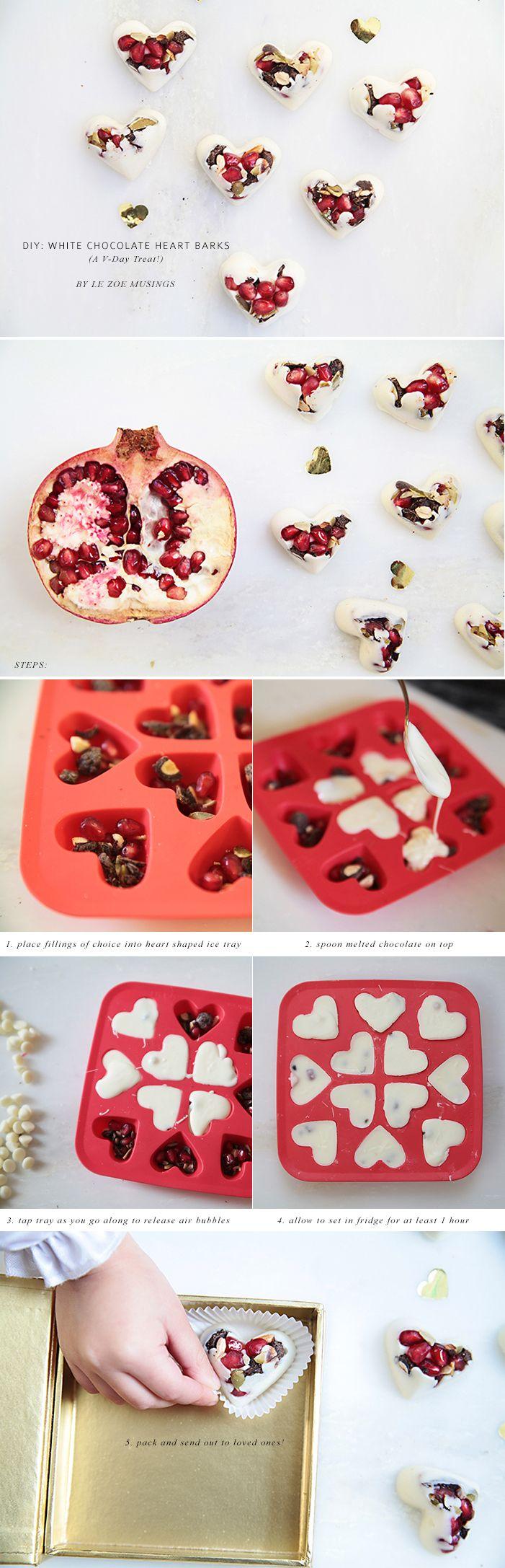 DIY Hoe to make White Chocolate Heart Barks.