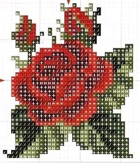 Patrón punto de cruz flor