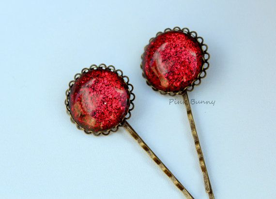 Pair of Gorgeous Red Hand Painted Glitter Hair Pins by PinkkBunnyy, $8.00