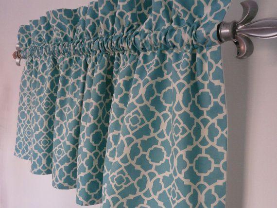 Turquoise Valance Waverly Lovely Lattice Aqua White Valance For The Kitchen Bathroom Beach