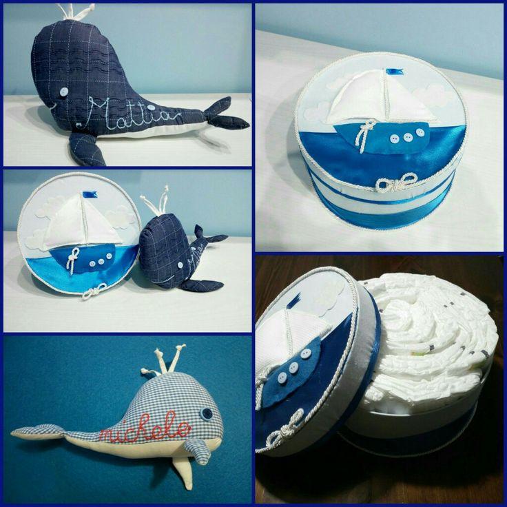 #balena in #stoffa a quadri #blu e tanti #pannolini ben sistemati all'interno della carinissima #scatola #mare con #barchetta #nuvolette in #tessuto ed #oblò #bottoncino 😍 tutto #handmade ❤
