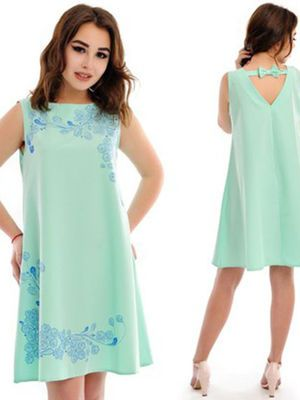 Платье мятного цвета с вышивкой - Эвелина - 2455096
