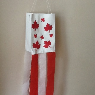 Canada day wind sock-made with paperbag, cut outs, crepe paper or streamers