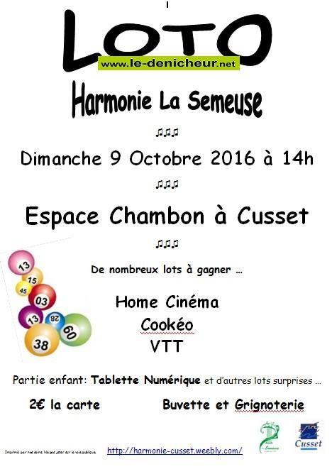 j09 - DIM 09 octobre - CUSSET - Loto d'Harmonie la Semeuse _*