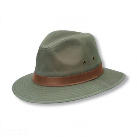 Packable Cotton Twill Safari Fedora Hat  7913a32674f