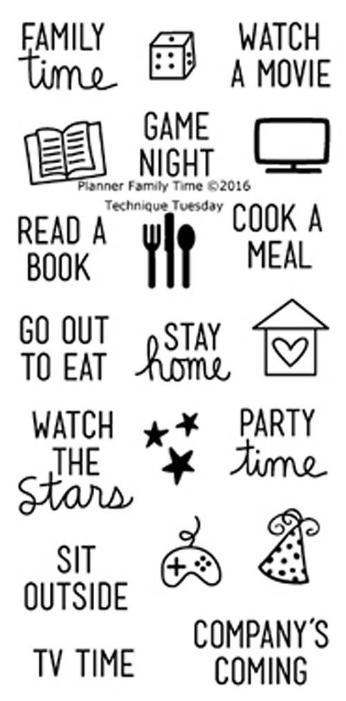 """TECHNIQUE TUESDAY: Planner Family Time (2"""" x 4"""" Clear Photopolymer Stamp Set) This clear photopolymer stamp set is great for your planners, calendars and pocket"""