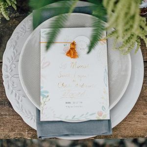 #closeup of the elopement announcements LaFabère created for a fab styled shoot created by @deerlacestudio. Loved creating this custom hand painted look, and that gold tassel #boho #bohostyle #bohowedding