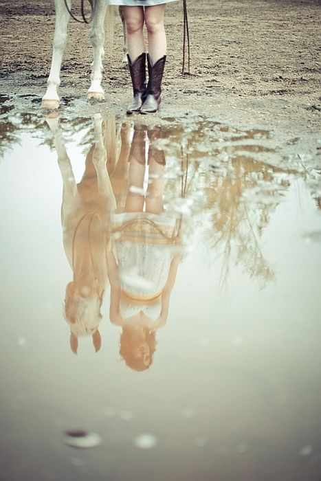 country girl reflection..This reminds me of my hourse who used to hate walking in puddles LOL~✿~