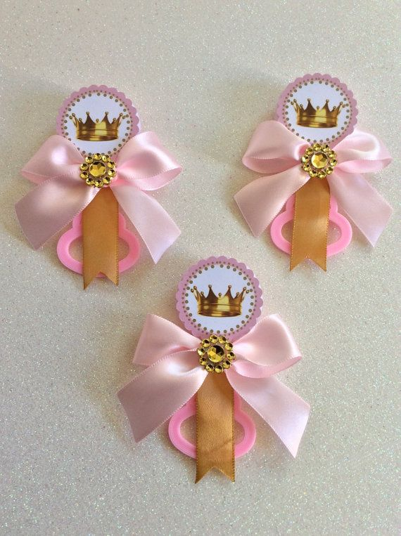 Pink Little princess baby shower pins Little by Marshmallowfavors