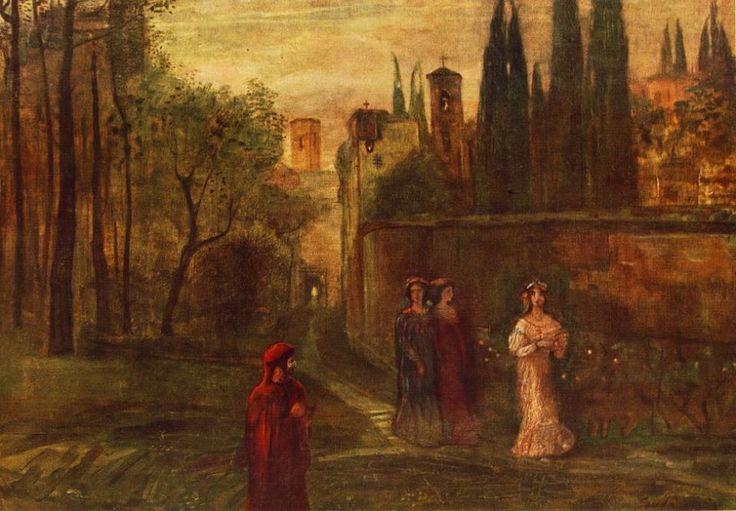 Gulácsy Lajos: Dante találkozása Beatricéval (1907)