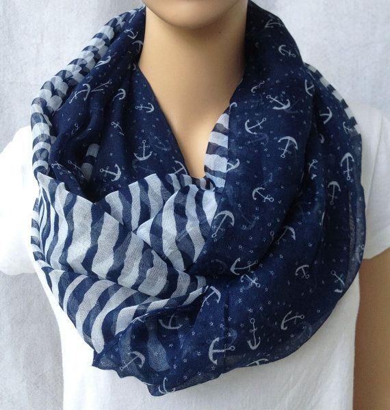 big voile navy stripe and anchor women scarf by YIER on Etsy, $7.99