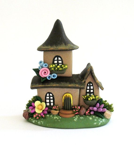 Miniature Charming Two Story Fairy Cottage House OOAK by C. Rohal