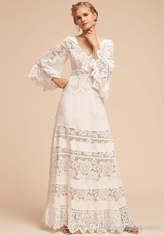 67ad45d855 Country Style Hippie Wedding Dresses 2018 Lace Bell Sleeve Plus Size V-neck  BHLDN Full length Lace Chiffon Bohemian Wedding Bridal Gown